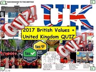 2017 British Values and UK United Kingdom Quiz - 7 rounds and over 40 Questions. End of Term Quiz
