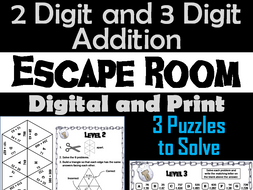 2 and 3 Digit Addition With Regrouping Escape Room