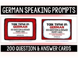 GERMAN SPEAKING PROMPTS - 200 CARDS & REFERENCE BOOKLETS (1&2)