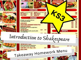 Introduction to Shakespeare KS3 Takeaway Homework Menu
