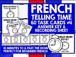 FRENCH TELLING TIME CHALLENGE CARDS #4