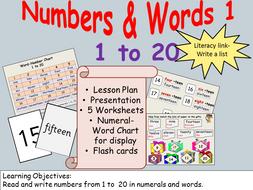 numbers number words 1 presentation lesson plan worksheets