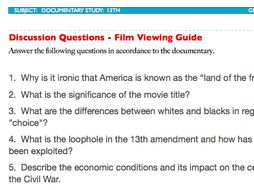 13th Discussion Questions PLUS Film Viewing Guide - Ava Duvernay - Netflix Movie