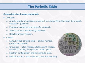 The Periodic Table [Worksheet]