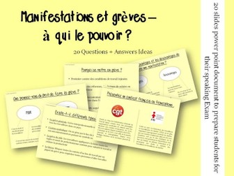 Manifestations, grèves - Questions/Answers for the speaking exam (French A2 Trade Union and Strikes)
