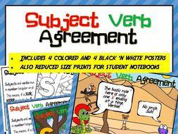 Subject Verb Agreement Posters for Kindergarten Classrooms