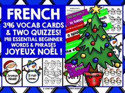 FRENCH VOCABULARY CHRISTMAS GAMES CARDS & QUIZZES