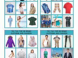 Clothing and Fashion Tic-Tac-Toe or Bingo
