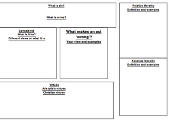 Eduqas RS GCSE New Spec. Issues of Good and Evil Blank Revision Grids