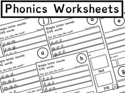 Phonics Alphabet Sound Worksheets with CVC words 19 Pages | Phonics ...