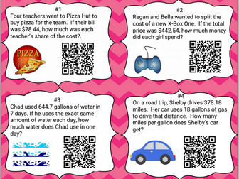 24 Long Division with Decimals- Real World Task Cards with QR codes & Work