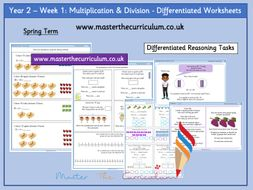 Year 2– Week 1 – Multiplication & Division Differentiated Worksheets- Spring -White Rose Style