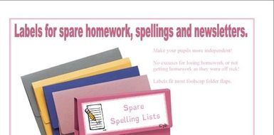 Folder Labels for Spare Homework, Spelling and Newsletters.