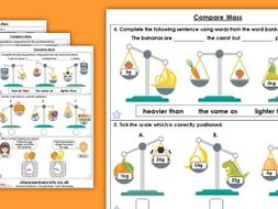 Year 3 Compare Mass Summer Block 4 Maths Homework Extension