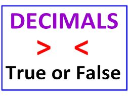 Decimals Greater Than Less Than PLUS Writing Decimals True or False (6 WORKSHEETS)