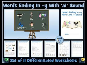 'y' at the end of a word with a long 'i' sound:  the /aɪ/ sound  Worksheets