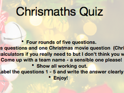 Christmas Quiz (Chrismaths Quiz :))