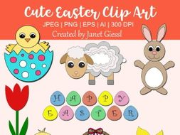 Cute Easter Clip Art - Set of 8
