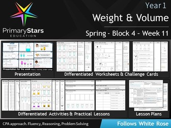 YEAR 1 - Measurement Weight & Volume - White Rose - WEEK 11 - Block 4 - Spring- Differentiated Pack