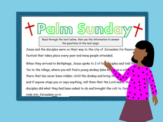 Palm Sunday Comprehension - answering questions, finding synonyms, etc.