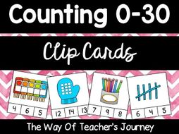 Counting Clip Cards 0-30 year 1 year 1 year 1