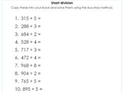 year    short division using the bus stop method  differentiated  worksheet