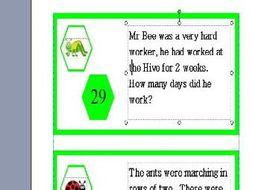 KS1 Maths Challenge Card Activity - Theme Minibeasts