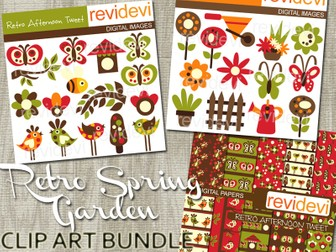 Spring Garden Retro Clipart Bundle