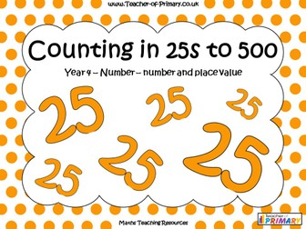 Counting in 25s to 500