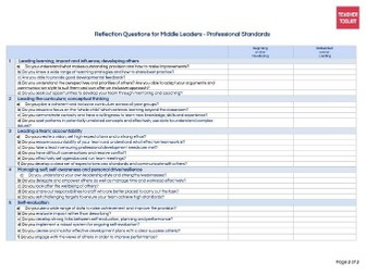 Middle Leaders Professional Standards Reflection Tool by @TeacherToolkit