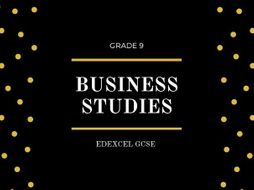 GCSE EDEXCEL BUSINESS FLASHCARDS THEME 1