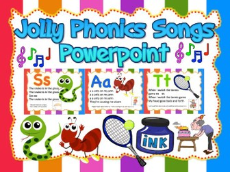 Jolly Phonics Songs Powerpoint (can be used as Flashcards or Wall decor)