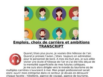 French Jobs and The Future (les métiers) - Revision Listening and Transcript