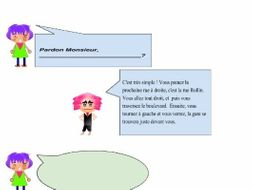 French speaking & writing : dialogue to complete in French - Les directions