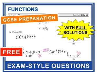 GCSE 9-1 Exam Question Practice (Functions)