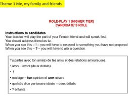 AQA Themes French Photocards & Roleplays