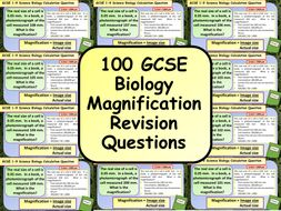 £1 ONLY: 100 GCSE Biology (Science) Magnification Calculation Revision Questions