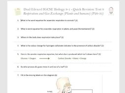 IGCSE Edexcel Double Award Biology - Quick Fire Test - Gas exchange,  breathing and smoking