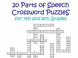 20 Parts of speech crossword Puzzles for Grades 7 and 8