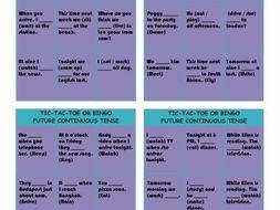 Future Continuous Tense Tic-Tac-Toe or Bingo
