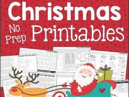 Christmas No-Prep Printables for Grade 3 - Reading, Math, & More