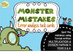 Error Analysis / Spot the Mistake Task Cards for Written Multiplication & Division Methods Yr 5 & 6