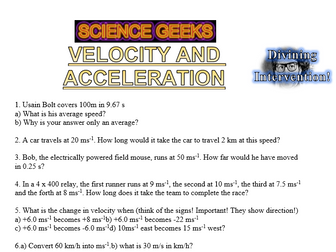 DIVINING INTERVENTION - Velocity and Acceleration