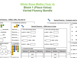 White Rose Maths - Year 4 - Place Value (Varied Fluency Practice Bundle)
