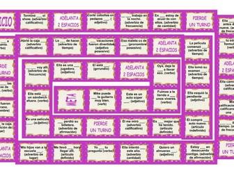 Parts of Speech Spanish 4 Worksheet-2 Game-1 Exam Bundle by