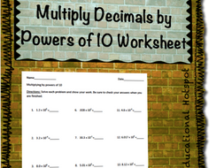 multiply decimals by powers of  worksheet by myeducationalhotspot  assessment