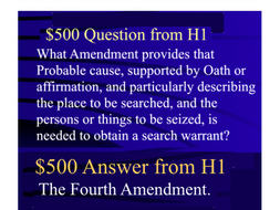 Jeopardy Game ~ Criminal Law ~ Bill of Rights ~ Constitutional Law ~ Accused