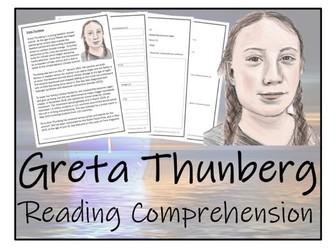 UKS2 Literacy - Greta Thunberg Reading Comprehension Activity