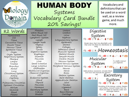 Human Body Word Wall Vocabulary Cards Bundle