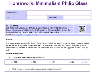 Minimalist Music Homework sheet taster